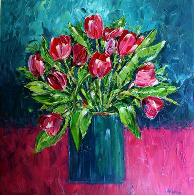 Pink Tulips by Alison Cowan, Painting, Acrylic on canvas