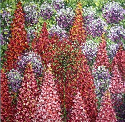 Pom Poms and Lupins by Alison Cowan, Painting, Acrylic on canvas