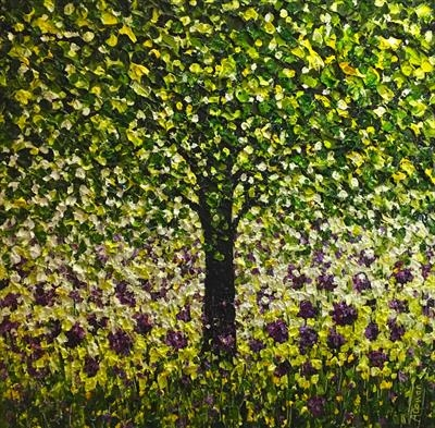 Pom Poms and Tree by Alison Cowan, Painting, Acrylic on canvas