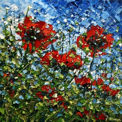 Poppies Catching the Wind by Alison Cowan, Painting, Acrylic on canvas