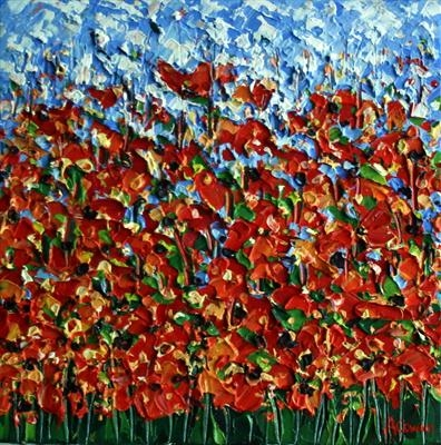 Poppy Dots by Alison Cowan, Painting, Acrylic on canvas