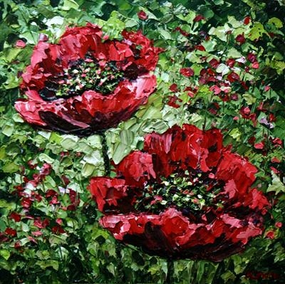 Poppy Pair by Alison Cowan, Painting, Acrylic on canvas
