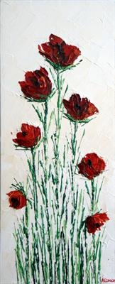Poppy Pyramid by Alison Cowan, Painting, Acrylic on canvas