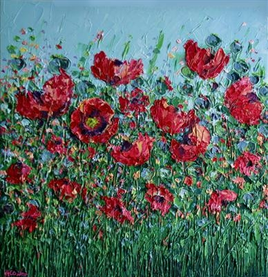 Poppy Seed Heads and Blooms by Alison Cowan, Painting, Acrylic on canvas