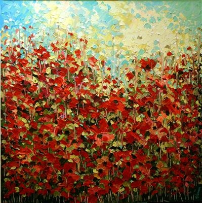 Profusion of Poppies by Alison Cowan, Painting, Acrylic on canvas