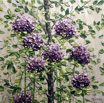 Purple Pom Poms with Sprigs by Alison Cowan, Painting, Acrylic on canvas