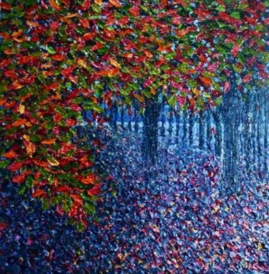 Rainbow Fall by Alison Cowan, Painting, Acrylic on canvas