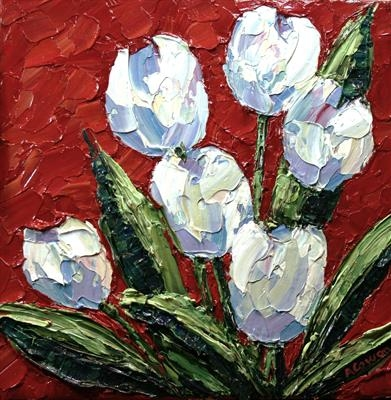 Rainbow Tulips 1 by Alison Cowan, Painting, Acrylic on canvas