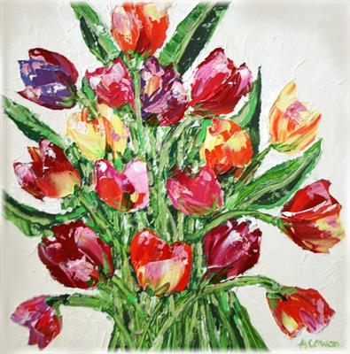 Rainbow Tulips by Alison Cowan, Painting, Acrylic on canvas