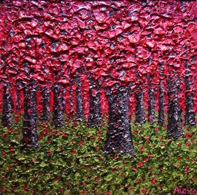 Raspberry Canopy by Alison Cowan, Painting, Acrylic on canvas