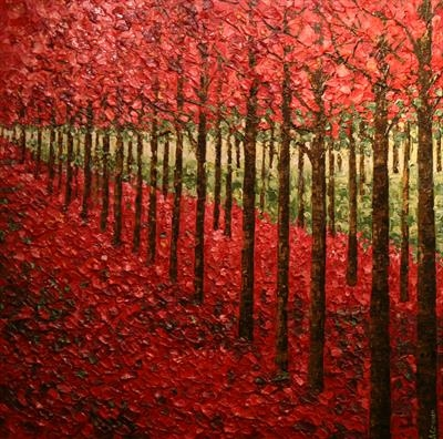 Raspberry Canopy and Carpet by Alison Cowan, Painting, Acrylic on canvas