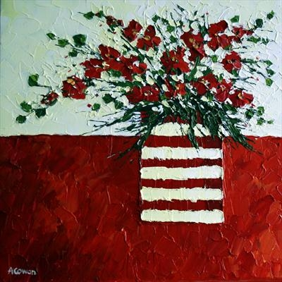 Red Blossom in Striped Vase by Alison Cowan, Painting, Acrylic on canvas