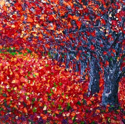 Red Fall by Alison Cowan, Painting, Acrylic on canvas