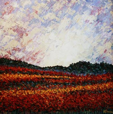 Red Fields by Alison Cowan, Painting, Acrylic on canvas