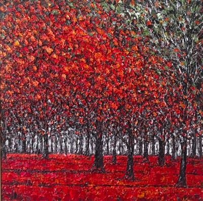 Red Forest by Alison Cowan, Painting, Acrylic on canvas