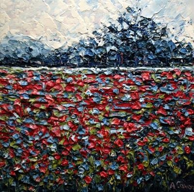 Red Ribbons by Alison Cowan, Painting, Acrylic on canvas