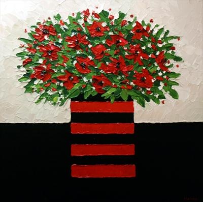 Red Roses on Black Cloth by Alison Cowan, Painting, Acrylic on canvas