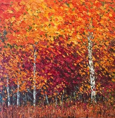 Red Tree Peeping Through by Alison Cowan, Painting, Acrylic on canvas