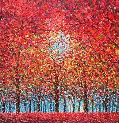 Red Trees with Teal by Alison Cowan, Painting, Acrylic on canvas