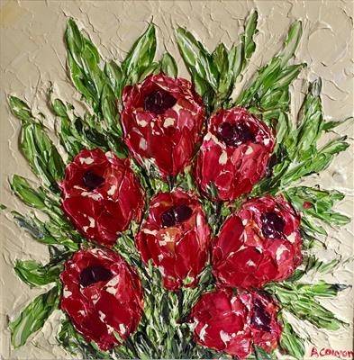 Red Tulips by Alison Cowan, Painting, Acrylic on canvas