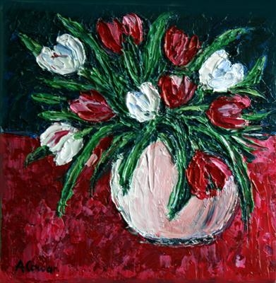 Red and White Tulips by Alison Cowan, Painting, Acrylic on canvas