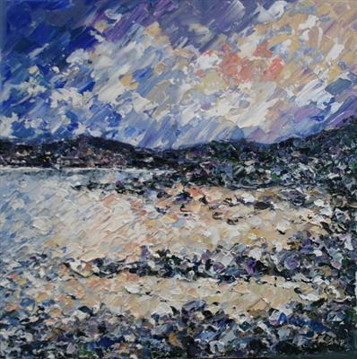 Rocky Shore by Alison Cowan, Painting, Acrylic on canvas