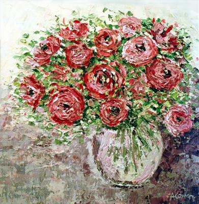 Rosey Posy by Alison Cowan, Painting, Acrylic on canvas
