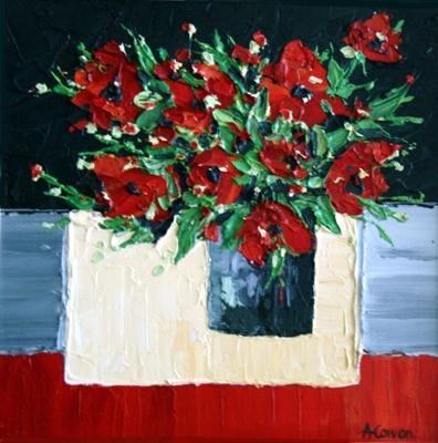 Ruby Red Roses on Cream Cloth by Alison Cowan, Painting, Acrylic on canvas
