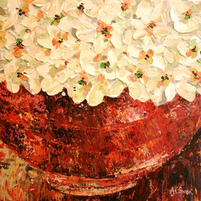 Rustic Bowl with Cream Blossom by Alison Cowan, Painting, Acrylic on canvas