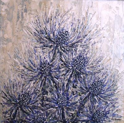 Sea Holly Thicket by Alison Cowan, Painting, Acrylic on canvas