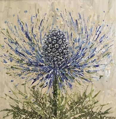 Sea Holly Whoosh by Alison Cowan, Painting, Acrylic on canvas