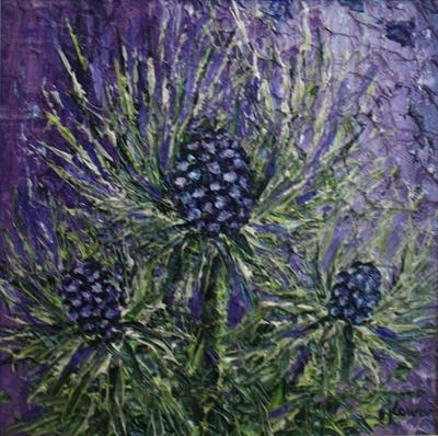 Sea Holly on Purple by Alison Cowan, Painting, Acrylic on canvas