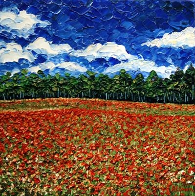Shimmering Poppy Field by Alison Cowan, Painting, Acrylic and Ink on canvas