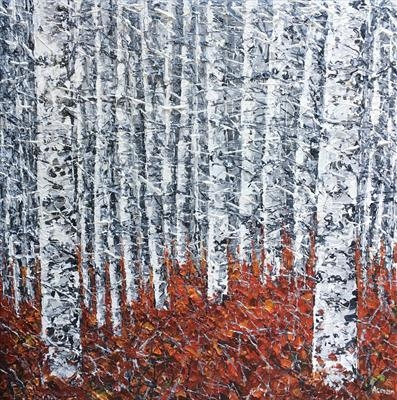 Silver Birch Huddle by Alison Cowan, Painting, Acrylic on canvas