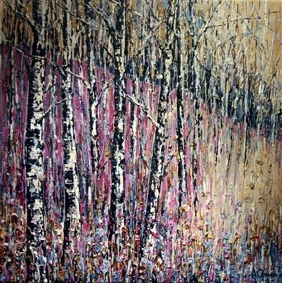 Silver Birch on Mauve by Alison Cowan, Painting, Acrylic on canvas