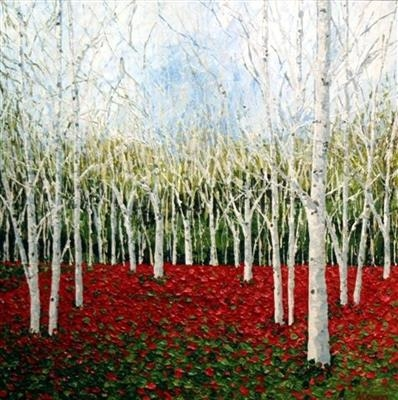 Silver Birch on Red Carpet by Alison Cowan, Painting, Acrylic on canvas