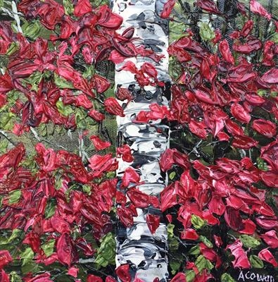 Silver Birch with Red Leaves by Alison Cowan, Painting, Acrylic on canvas