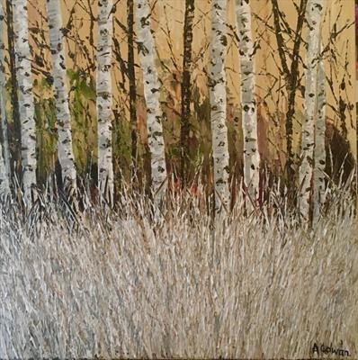 Silver Grasses with Birch by Alison Cowan, Painting, Acrylic on canvas