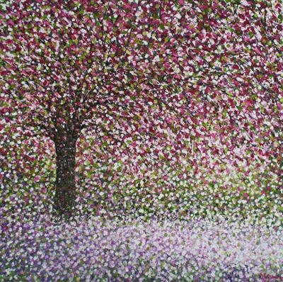 Single Blossom Tree by Alison Cowan, Painting, Acrylic on canvas