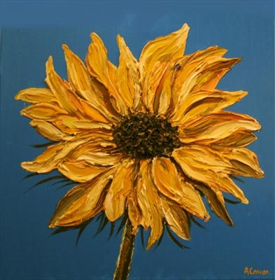 Single Sunflower by Alison Cowan, Painting, Acrylic on canvas