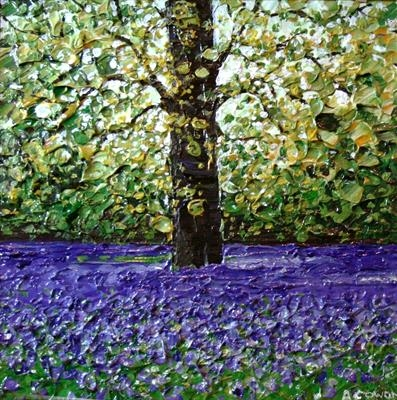 Single Tree in Lavender Field by Alison Cowan, Painting, Acrylic on canvas
