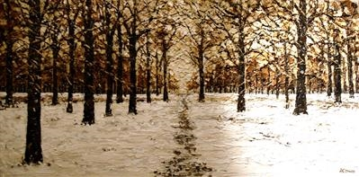 Snowy Sepia Landscape by Alison Cowan, Painting, Acrylic on canvas