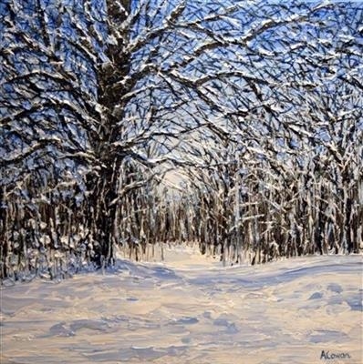 Snowy Trees by Alison Cowan, Painting, Acrylic on canvas