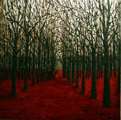 Spiky Trees in Red Field by Alison Cowan, Painting, Acrylic on canvas