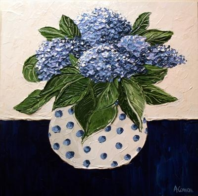 Spotted Pot with Blue Hydrangeas by Alison Cowan, Painting, Acrylic on canvas