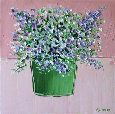 Spring Bouquet on Pink by Alison Cowan, Painting, Acrylic on canvas