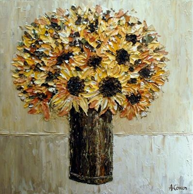 Sunflower Posy by Alison Cowan, Painting, Acrylic on canvas