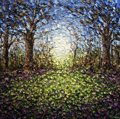 Sunshine Through Bluebell Wood by Alison Cowan, Painting, Acrylic on canvas
