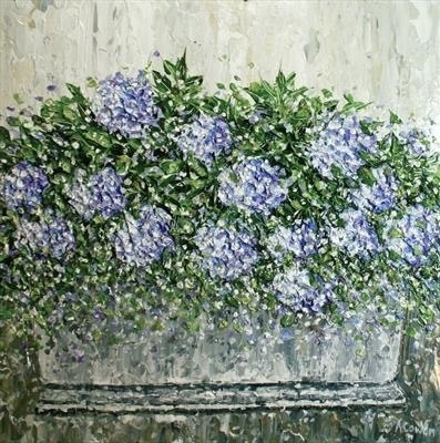 Textured Hydrangeas by Alison Cowan, Painting, Acrylic on canvas