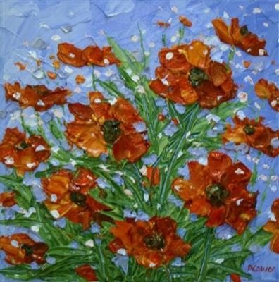 Textured Poppies by Alison Cowan, Painting, Acrylic on canvas